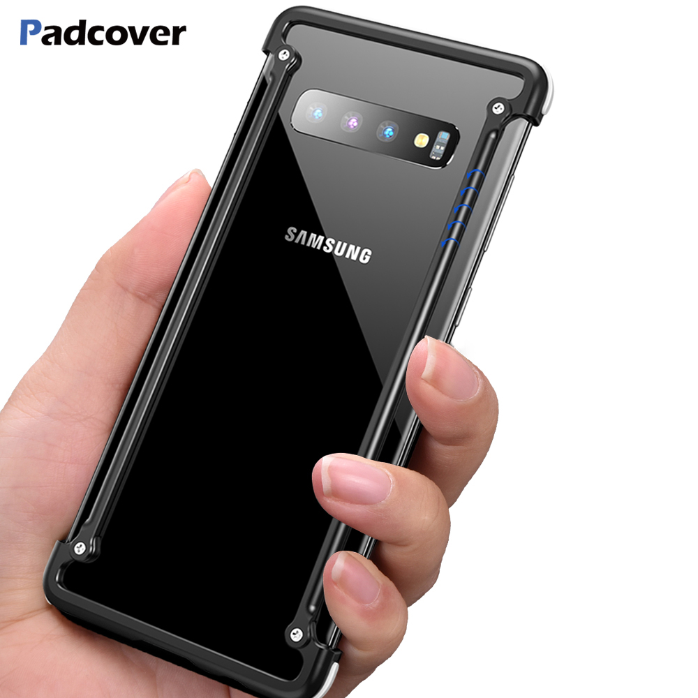 PADCOVER Original Airbag Metal Case for Samsung Galaxy S10 Case Personality Shell Metal Bumper Cover for Samsung Galaxy S10 plus