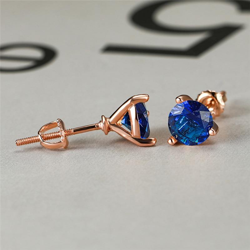 8MM Round Blue Zircon Screw Thread Stud Earrings For Women Wedding Jewelry Vintage Rose Gold Multicolor CZ Stone Spiral Earrings