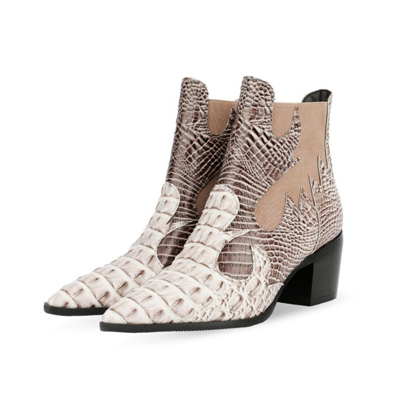 Cossacks Mixed Colors PU Leather Cowboy Ankle Boots Women Wedge High Heel Booties Snake Print Western Cowgirl Boot 2020 Female