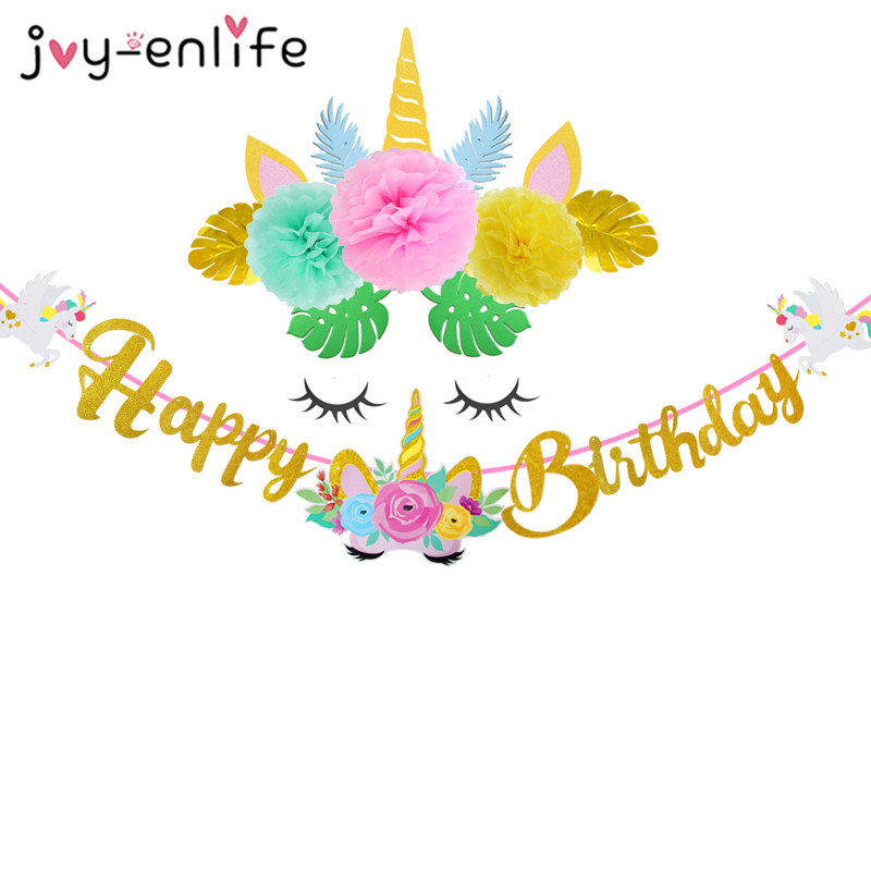 <font><b>Unicorn</b></font> Party <font><b>Decorations</b></font> 3m Gold Happy Birthday Flag Banner Felt <font><b>Unicorn</b></font> Horn Flower Palm Leaf Birthday Party <font><b>Decorations</b></font> Kids image