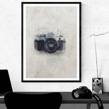 Canon cámara lienzo arte póster impresiones fotógrafo regalo, Vintage acuarela pintado a mano pintura estudio fotografía pared Decoración