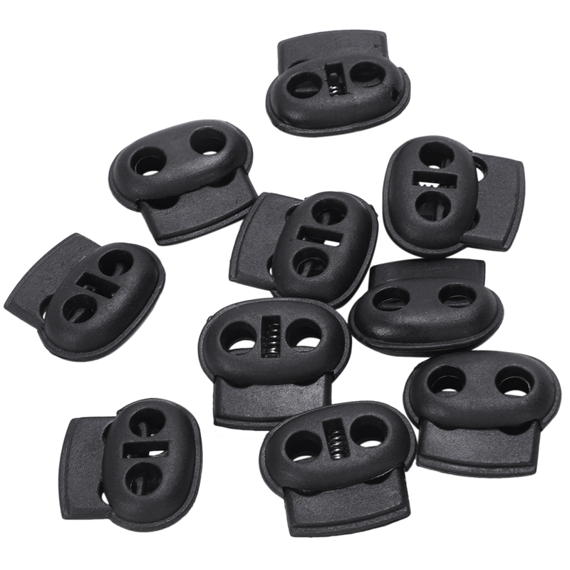 10-100 Plastic White String Cord Lock Toggles Stoppers Round Head Single Hole