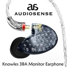 AUDIOSENSE T300 פרו 3 נואלס מאוזן אבזור נהג ב אוזן צג עם MMCX Detchable 8 גדילים חוט הגדרה מחדש קול איכות