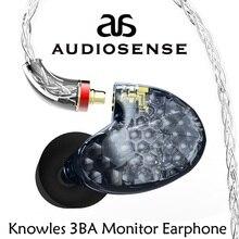 AUDIOSENSE T300 Pro 3 knoles bilanciato Driver di armatura Monitor in Ear con MMCX Detchable 8 fili filo ridefinizione della qualità del suono