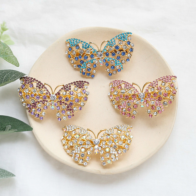 Luxurious Crystal Hairpins For Women Gold Alloy Rhinestone Barrettes Colors Stones Butterfly Hair Clips Jewelry For Wedding New
