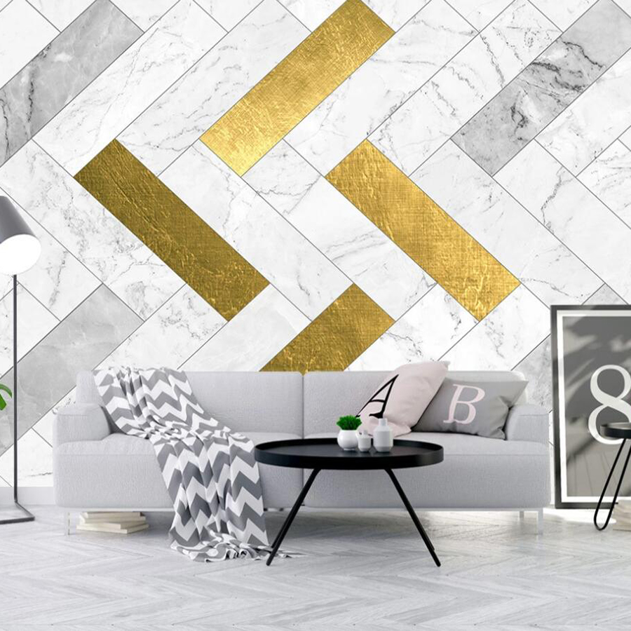 Drop Shipping Custom Any Size 3D Mural Wallpaper Geometric Gold Mosaic Marble TV Background Wall Decoration Wallpaper Mural