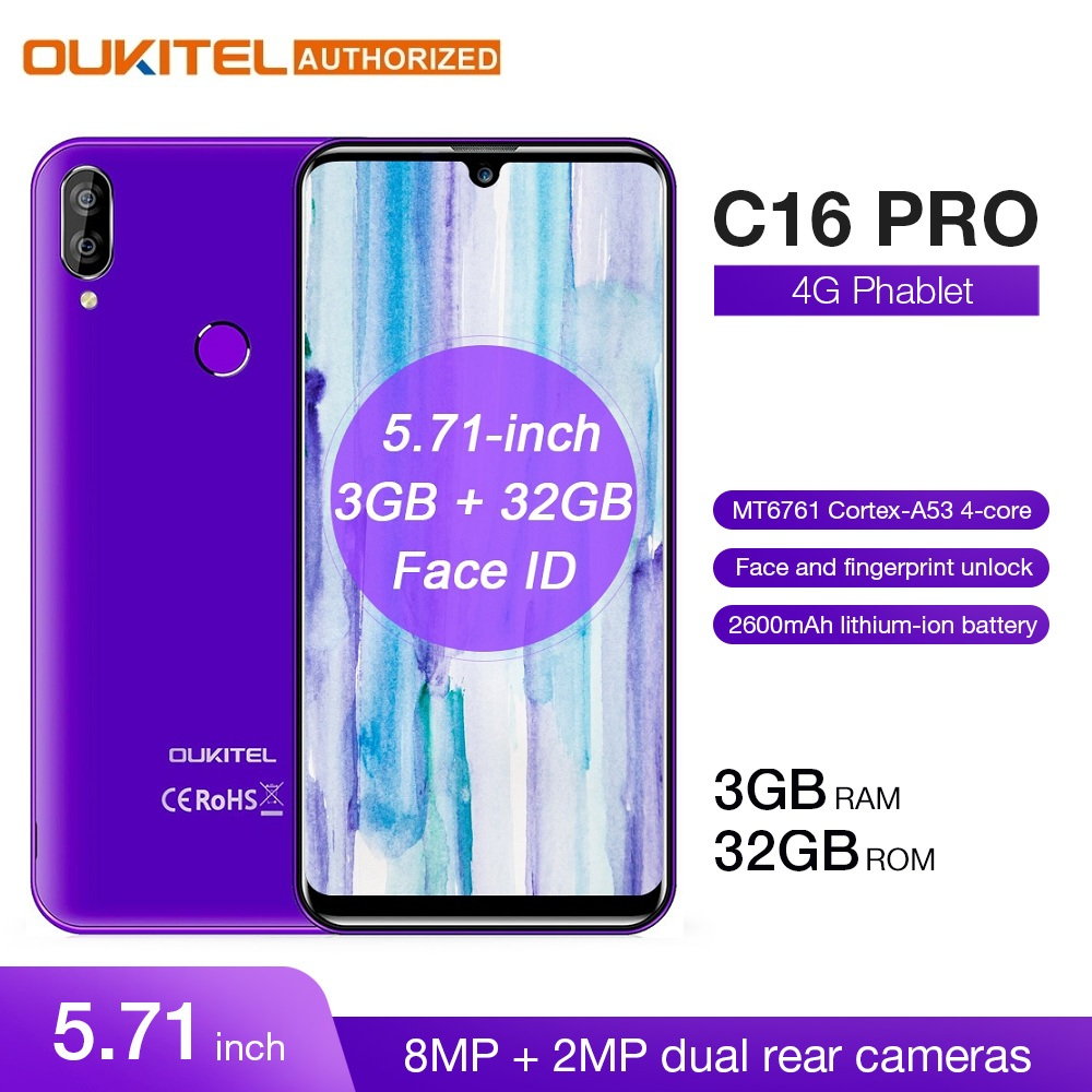 OUKITEL 4G LTE Mobile Phone C16 Pro 5.71 polegada Android 9.0 19:9 Waterdrop MT6761P Celular Quad 3GB de RAM 32GB ROM Smartphones