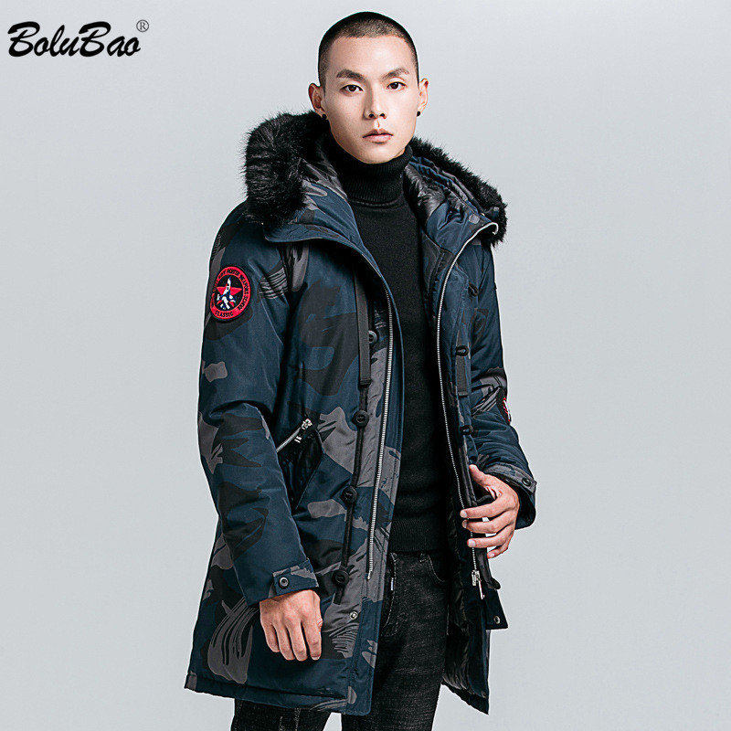 BOLUBAO Brand Men Winter Camouflage Jacket Coats 2020 Male Casual Thicken Parka Men's Fashion Long Section Warm Parkas 1