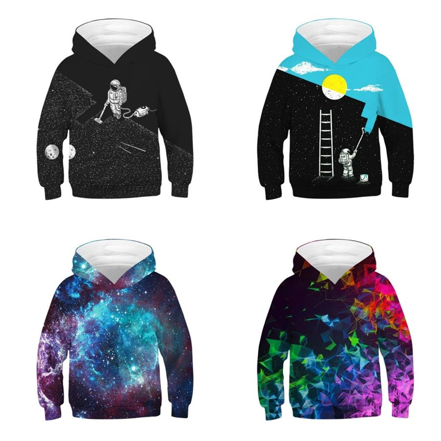 Children Kids Boys Girls Hoodie Sweatshirt Long Sleeve Print Hooded Dresses Top