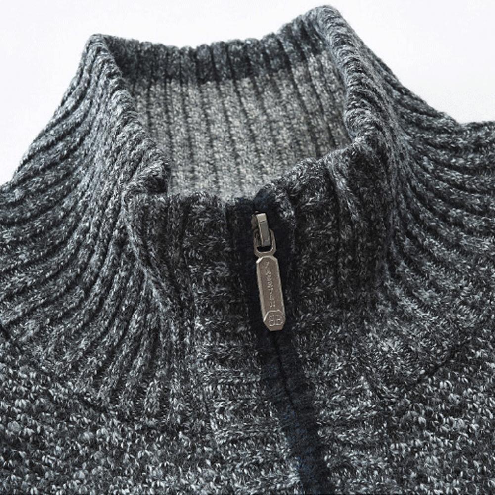 Autumn Winter Men Knitted Sweater Pockets Plush Liner Warm Slim Cardigan Coat 4