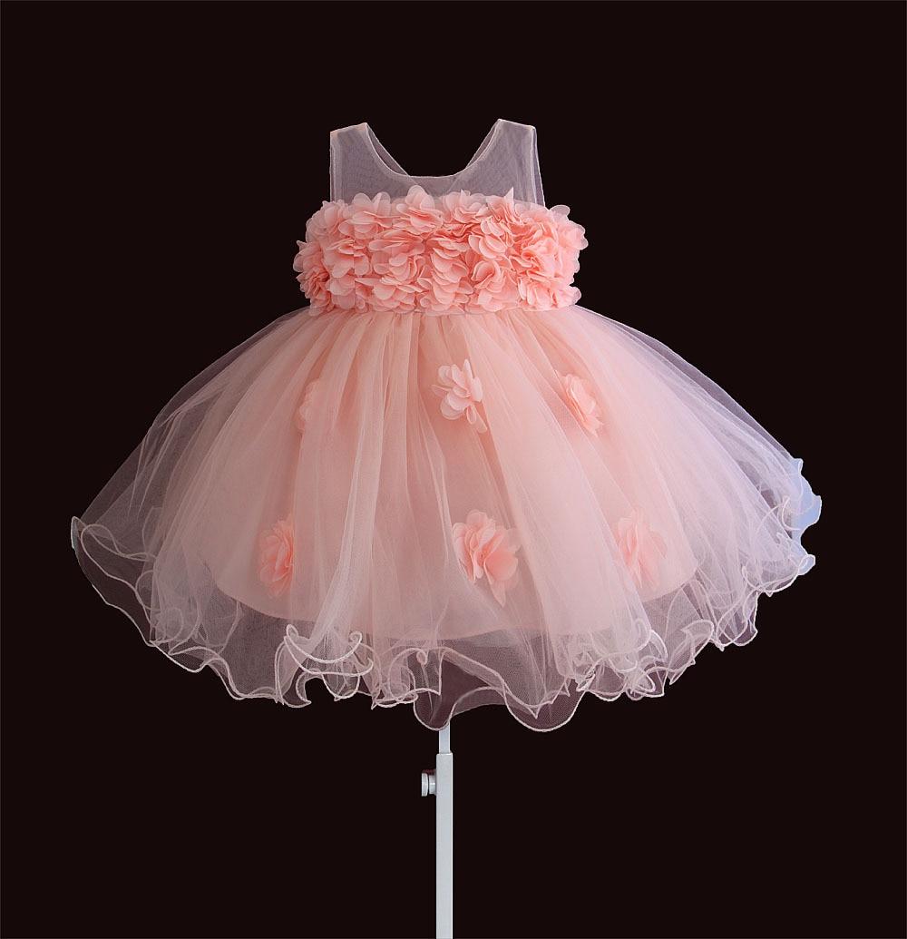 Baby Girls Dresses Lace Flower Kids Clothing Princess Wedding Baptism Children Wear 1 Year Birthday Vestido Infantil 6M-4Y