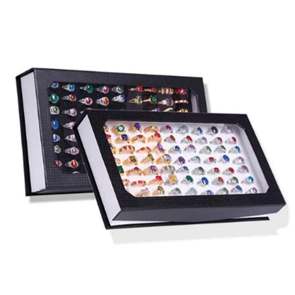 Jewelry Display Tray Fashion Rectangle Jewelry Display Tray Holder 72 Holes Rings Storage Case Box Earrings Ring Display Storage