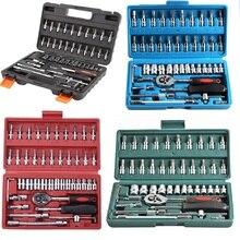 46pcs Set di bussole strumento di riparazione auto Set di chiavi a cricchetto Set di chiavi a bussola per nottolino cacciavite Kit di strumenti professionali per la lavorazione dei metalli