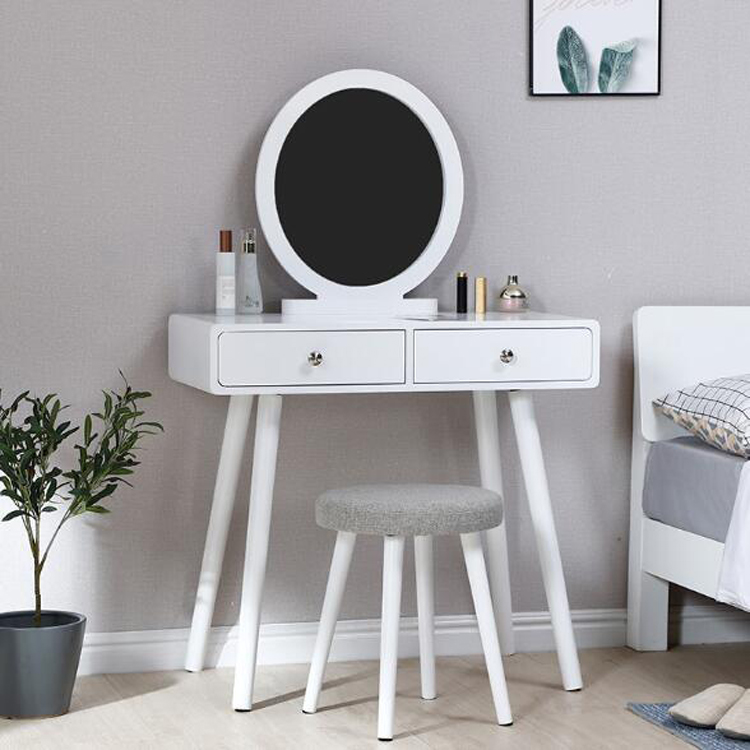 Bedroom Furniture Makeup Dressing Table 2 Drawer Jewelry Cosmetic Storage Dresser Table With Stool Mirror Chair Set