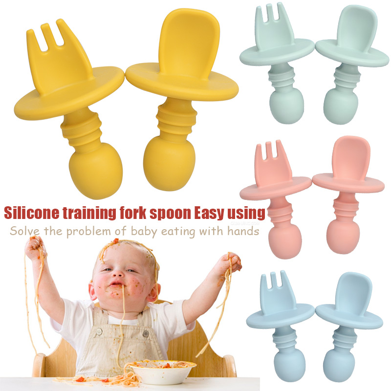 2pcs/lot Baby Training Fork Spoon Set Silicone Baby Feeding Spoon And Fork Set  Food Grade Newbornrn Accessories Teether
