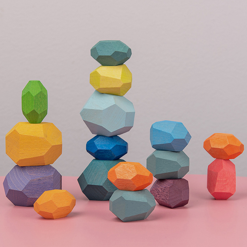 Tumi Ishi de madera equilibrio apilado piedras arcoiris juego de color gemas de rocas, piedras de madera construcción Block Montessori Juguetes