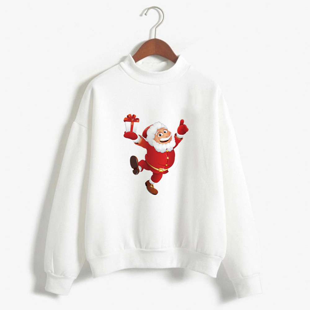 Christmas Clothes Women Casual Santa Claus Print Blouses Autumn Tops Xmas Pullover Sweatshirt Nightmare Before Christmas 2020