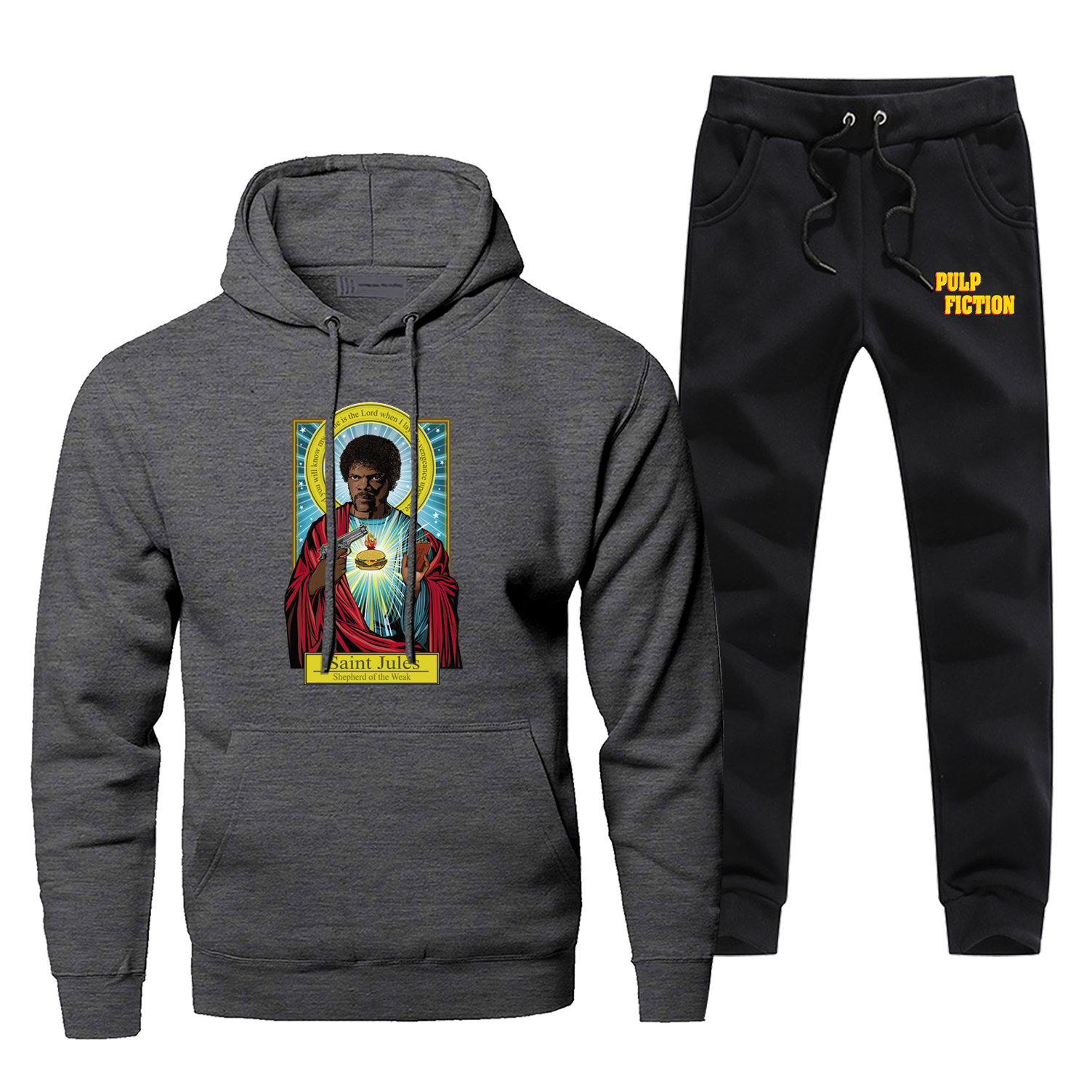 Saint Jules Pulp Fiction Print Hoodies Vintage Style Sweatshirts Fashion High Quality Men's Full Suit Tracksuit Bodywarmer Pants