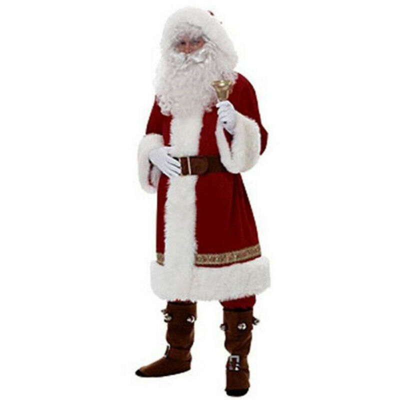 Hot Christmas Santa Claus Costume Fancy Dress Suit Velvet Cosplay Russia Adults Party Outfit 6PCS Outwear Xmas Outfits Sets