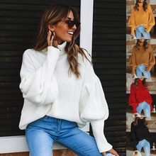 2019 Women Knitted Turtleneck Sweater Female Solid Collar Pullovers Warm