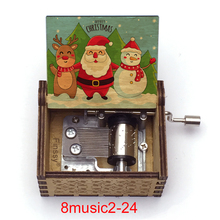 Hand-Music-Box Christmas-Decorations Gift Wooden Music-Theme Caja for Home Family New-Year