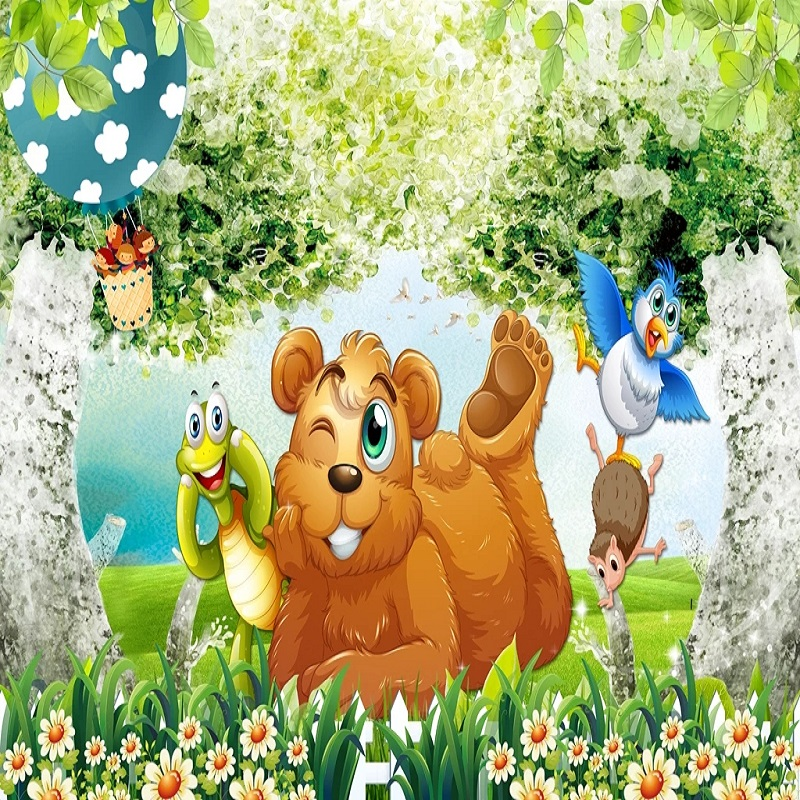Custom Large Mural 3D Wallpaper Fairy Tale World Cartoon Animal Bear Forest Bedroom Mural TV Back Wall Decor Deep 5D Embossed