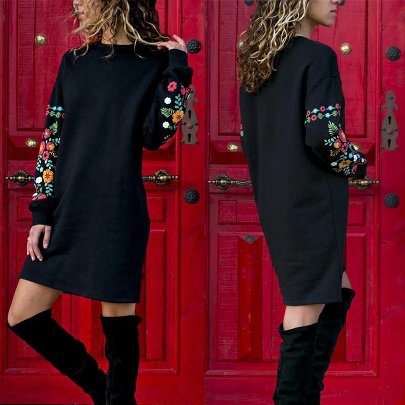 JODIMITTY 2020 فستان الشتاء النساء فستان مصغر الكلاسيكية الأزهار ملابس منقوشة بكم طويل س الرقبة فضفاض فستان دافئ أسود الشارع الشهير Vestido
