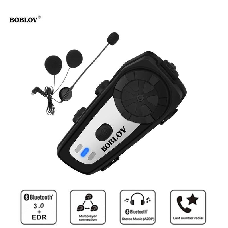 BOBLOV Motorcycle Helmet Intercoms Handsfree M6 BTWireless Bluetooth Intercom Moto Headset Communication System FM MP3