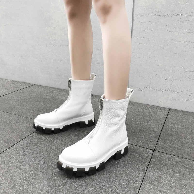 2019 tamaño grande 35-43 botas de nieve para mujeres gruesas de felpa cálido invierno botines mujeres zapatos planos cuero genuino impermeable