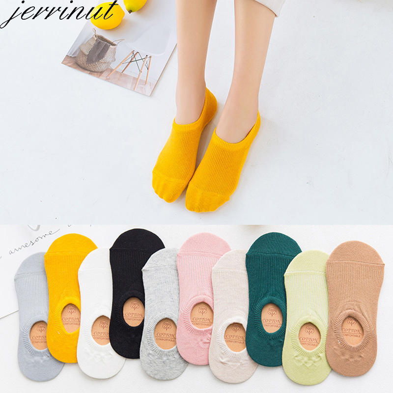 Women's Cotton Invisible No Show Socks Non-slip Summer Candy Solid Color Silicone Short Socks Fashion Cute Thin Ankle Boat Socks