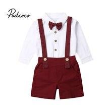 Коллекция года, весенне-осенняя одежда для малышей Комплект из 2 предметов, футболка с длинным рукавом для маленьких мальчиков и девочек, топы, штаны, Комбинезоны Комплекты одежды для джентльменов