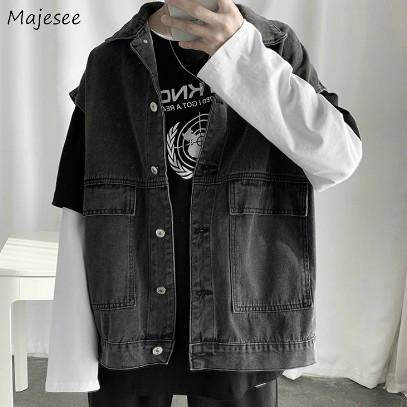 Vest Men Turn-down Collar Denim Leisure Couples Chic Womens Sleeveless Coats Teens Waistcoats Harajuku All-match Ulzzang BF New