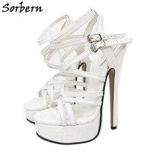Sorbern Sandalias de tacón alto con punta blanca para mujer, zapatos con plataforma de 20cm, con talón descubierto, de cuero genuino, Gladiador personalizado, sexys