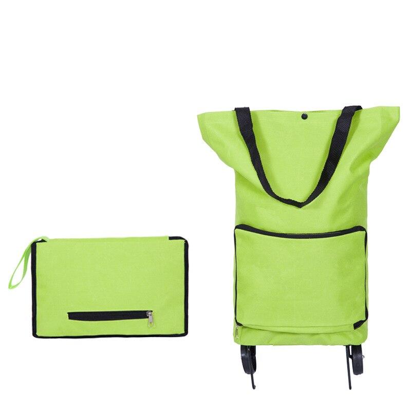Складная Многофункциональная хозяйственная сумка-тележка с колесами, многоразовая зеленая сумка для хранения, водонепроницаемая