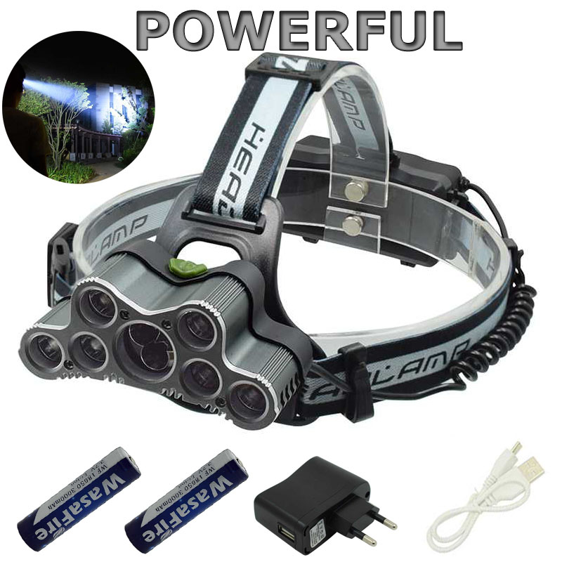 XML T6+Q5 Led Headlight 25000lm 7/9 Leds Headlamp Waterproof Head Lamp Frontal Flashlight+18650 Battery+USB Cable
