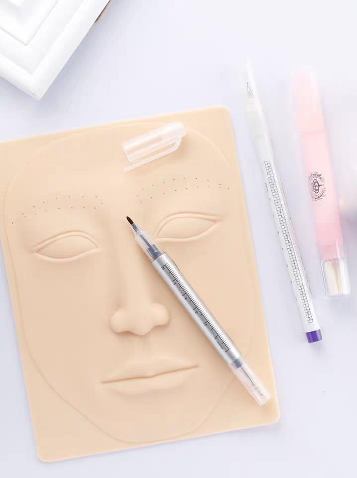 Práctica quirúrgica Marcador de piel Kit de rotulador de cejas Tatuaje Pluma de marcador de piel con regla de medición Herramienta de posicionamiento de microblading