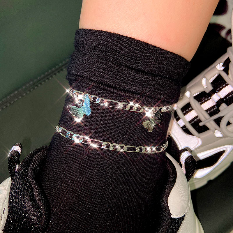 Flatfoosie 2Pcs/Set Vintage Butterfly Silver Color Anklet For Women Copper Anklet Summer Barefoot Sandals Jewelry Party Gift
