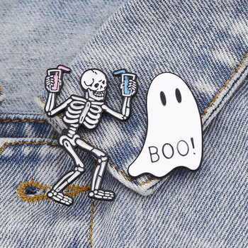 Enamel Pins Halloween Cartoon Badges Brooches Skull skeleton Ghost Lapel Pins Jean Shirt Bag Lapel Pins Halloween Jewelry Gifts image