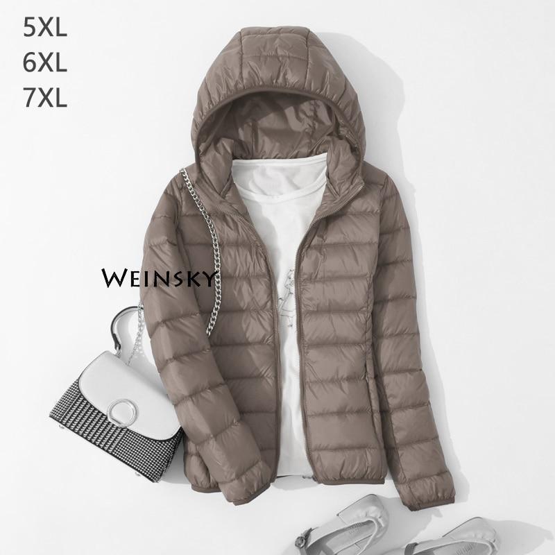 Spring Autumn Women Ultralight Thin Down Jacket White Duck Down Hooded Jackets Warm Winter Coat Parka Female Portable Outwear