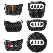 Carbon fiber car interior decoration, steering wheel logo decoration, Suitable For Audi A3 A4 A5 A6 Q3 Q5 Q7 car stickers,