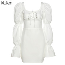 KLALIEN fashion elegant Lantern Sleeve bow bandage white mini dress women street office lady casual party beach vacation dress