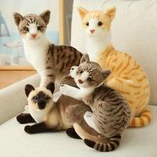 Lifelike siamese gato brinquedos de pelúcia animais de pelúcia simulação americano shorthair gato plushie bonecas para crianças crianças brinquedo de estimação decoração