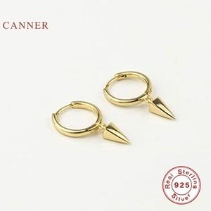 EINDOSER Geometrische Viereck Kegel Ohrringe Für Frauen 100% Echt 925 Sterling Silber Ohrringe Hoops Feine Schmuck Pendientes