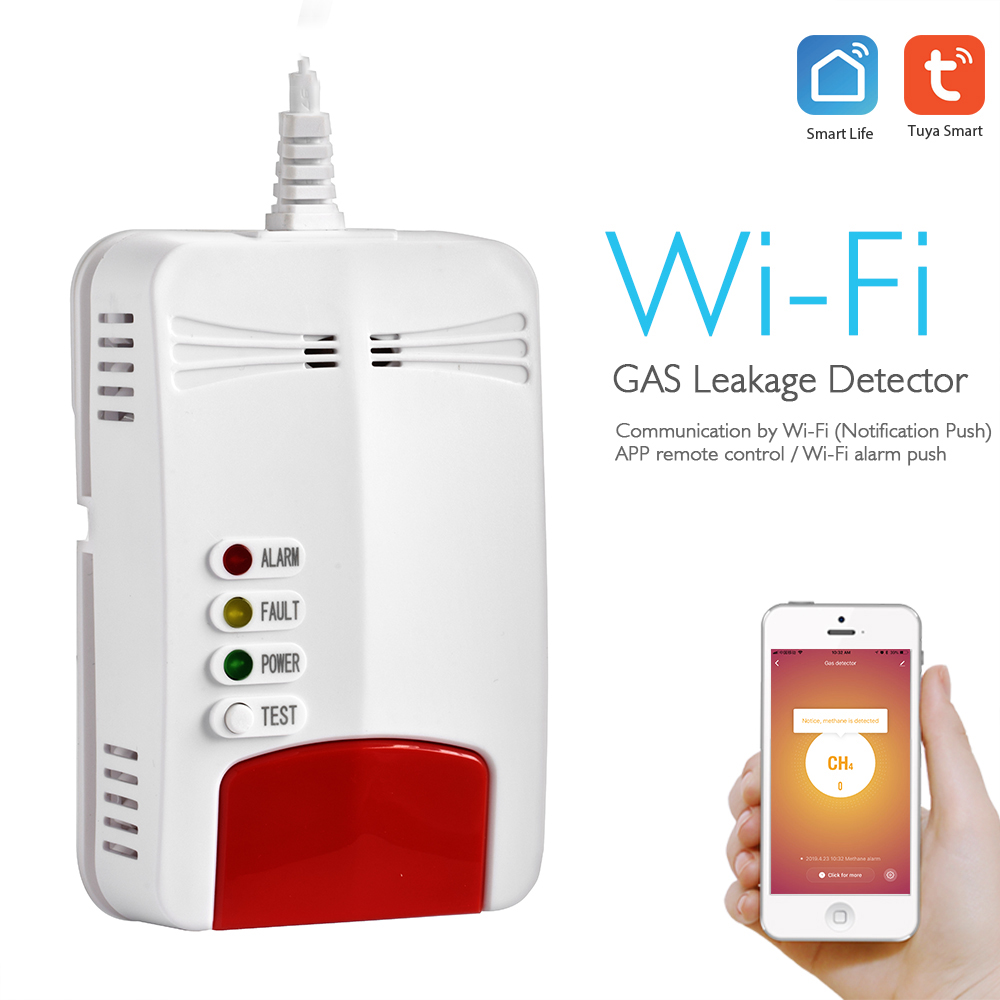 Tuya Wifi Smart Gas Detector Gas Alarm Home Security Wireless Gas Sensor Wifi Smart Gas Linkage For Smart Home Alarm System