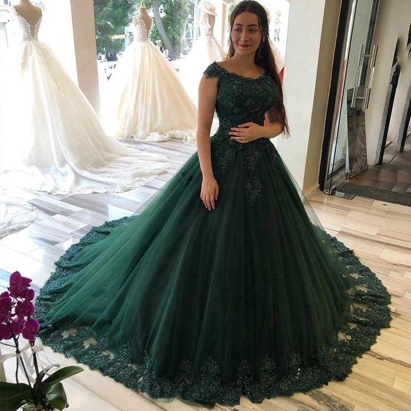 Dark Green Lace Applique Beads Prom Dresses Arabic 2020 Off The Shoulder Short Sleeves A Line Tulle Plus Size Evening Gowns