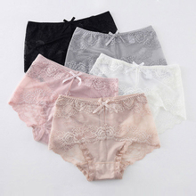 Women Plus Size Sexy Lace Underwear Briefs Cute Bow Comfy Sweet Soft Comfort Lingerie Seamless