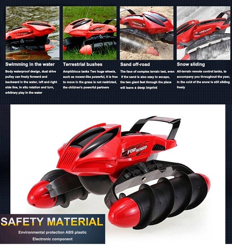 A prueba de agua RC coche tanque anfibio carretera truco RC coche aplicar a todas las carreteras luz diseño especial de juguete de Control remoto - 3