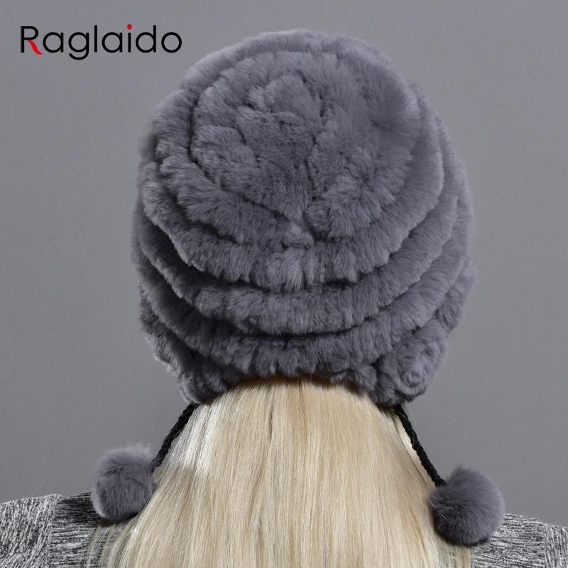 women's hat winter warm rabbit fur hats with pearls fashion striped unique design natural fur bomber hats female ball caps 2