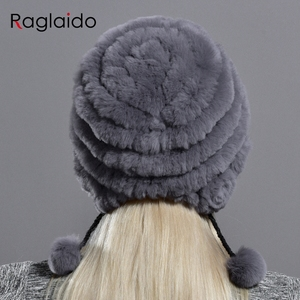 Image 3 - womens hat winter warm rabbit fur hats with pearls fashion striped unique design natural fur bomber hats female ball caps