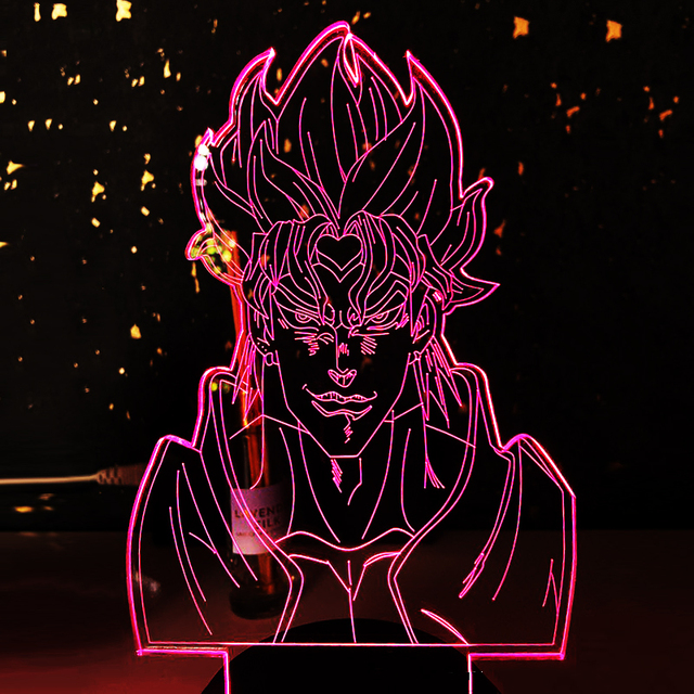 Acrylic Night Lamp Anime JoJos Bizarre Adventur Light Touch Sensor Colorful Table Led Night Light Dio Figure for Bedroom Decor